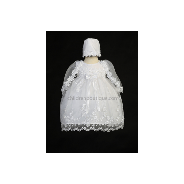 Embroidered Organza Baptism Gown