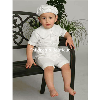 Boys Christening Satin Short Set