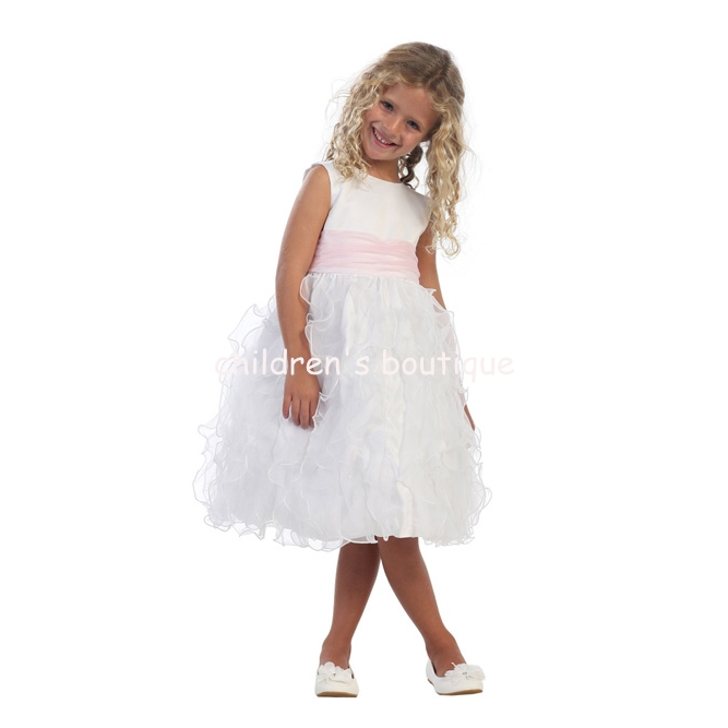 Feather-Like Organza Flower Girl Dress