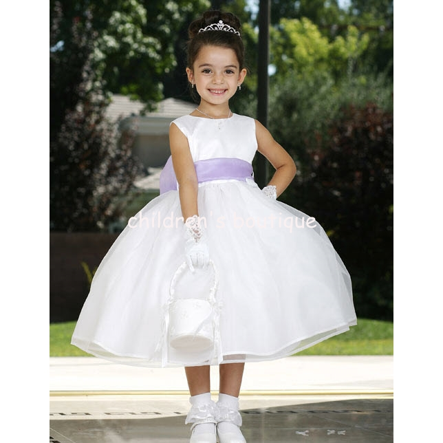 Satin Flower Girl Dress With Organza Skirt
