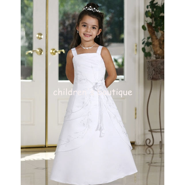 Long Satin Flower Girl Dress