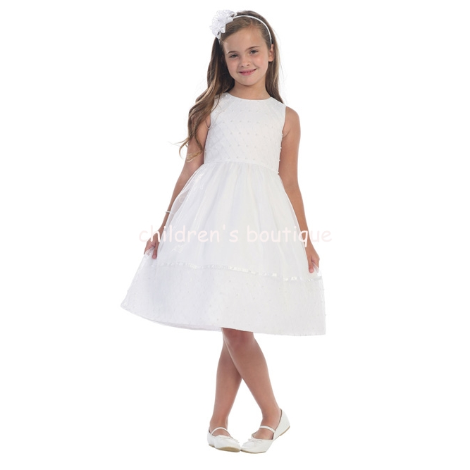 Waffled Organza First Communion Dress