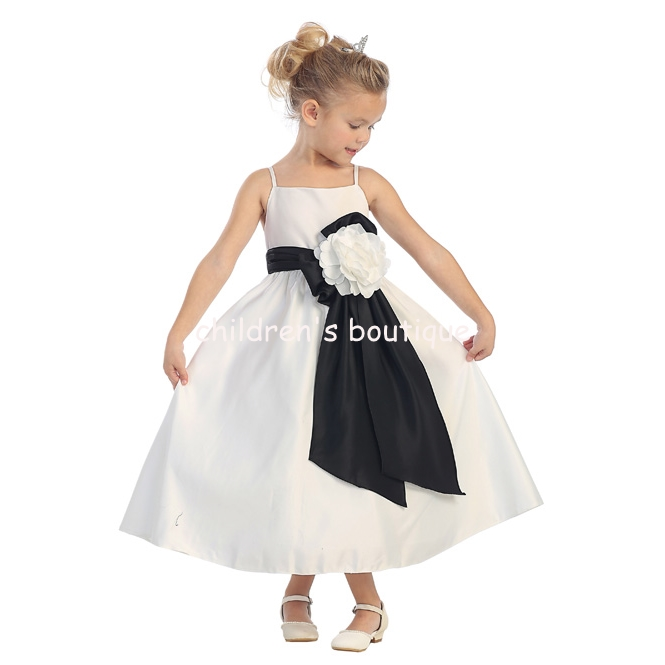 """Fiona"" Satin Flower Girl Dress"