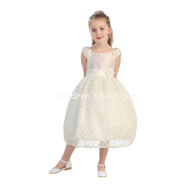 Floral Applique Flower Girl Dress