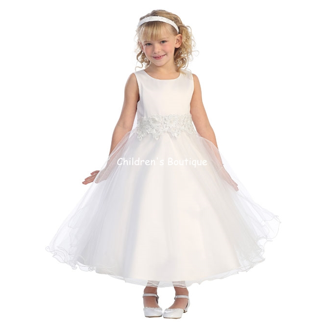 Tulle Dress w/ Flower Embellishment Cotton lined