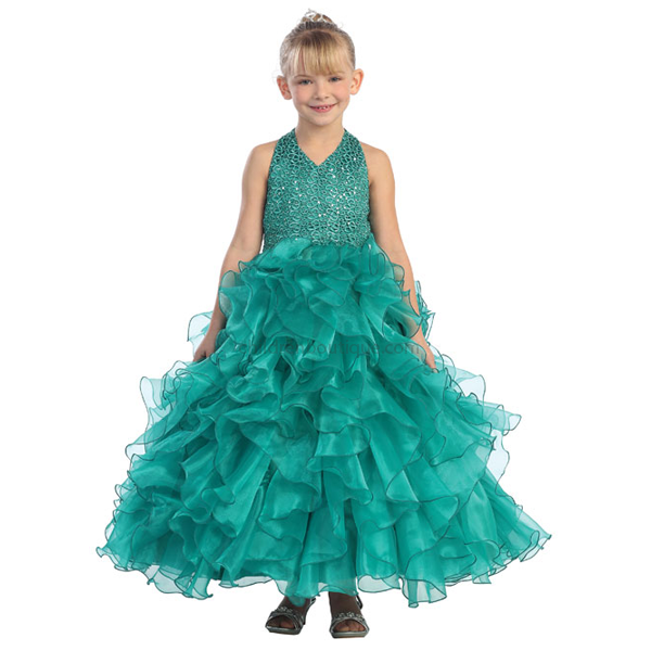 Sequin Halter Top Pageant Gown