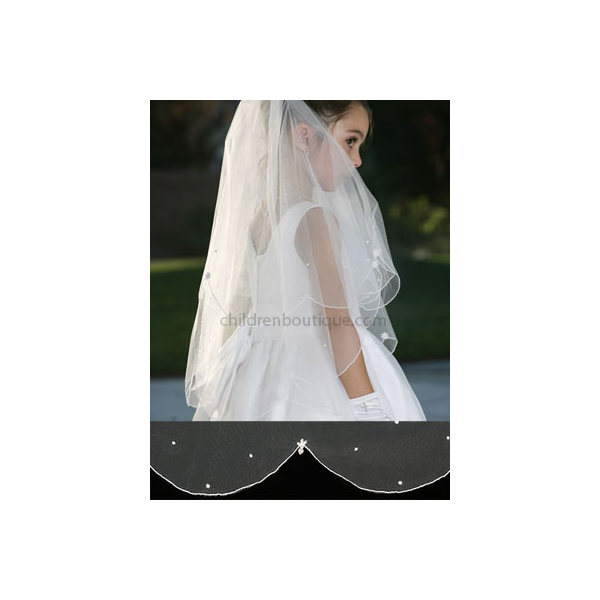 Scalloped First Communion Veil