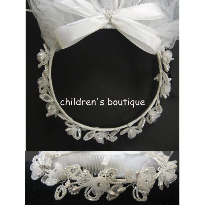 First Communion Veil with Sequined Floral Crown