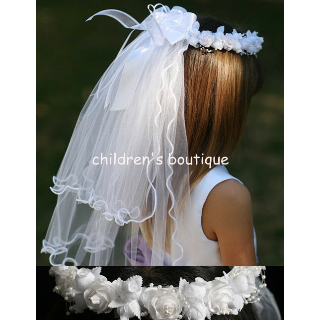 Communion Veil With Rosette Crown