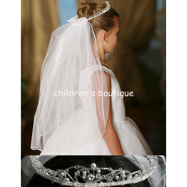 Communion Veil With Bead Crown