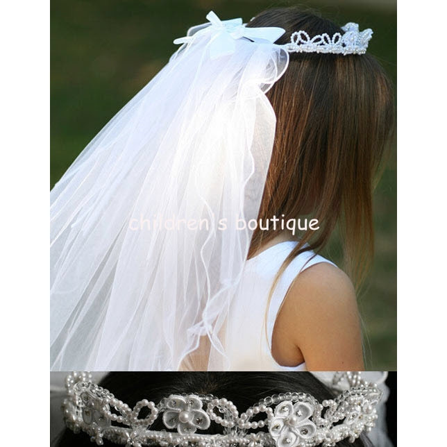 Communion Veil With Lace Flowers