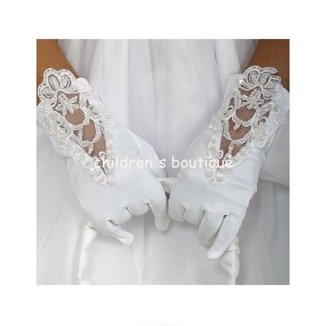 White Satin Gloves With Lace