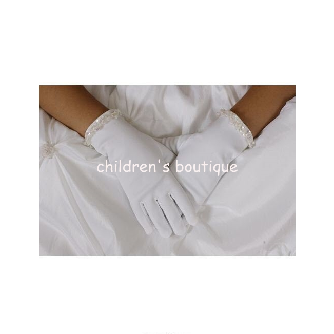 White Satin Gloves With Beading