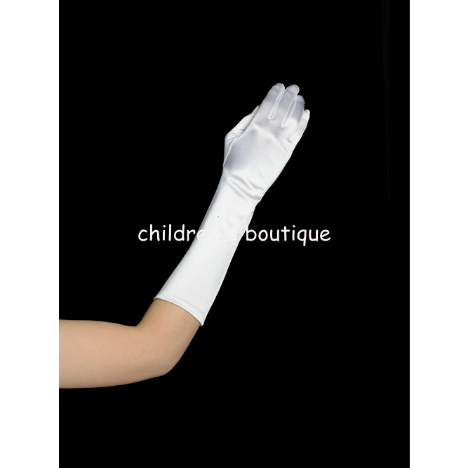 White Satin Elbow Length Glove